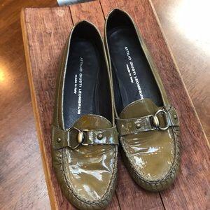 Attilio Giusti Leombruni olive green penny loafers